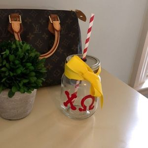 Chi Omega Personalized Mason Jar Cup with Straw